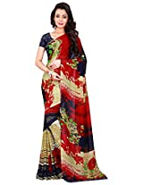 Silk Bazar Women's Faux Georgette Saree with Blouse Piece (Multicolor)