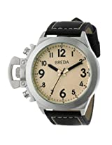 Breda Joseph Beige Dial Black Leather Men's Watch