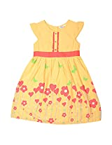 Beebay Cotton Dr Yellow Casual Frock For Girls ( Size-7 Years )