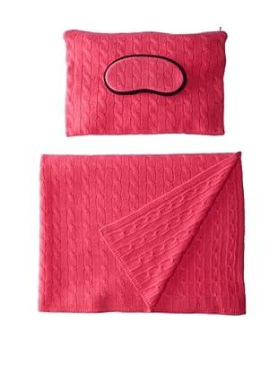 Sofia Cashmere Emilia Cable Knit Travel Set (Pink)