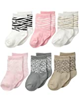 Carter's Baby Girls 6 Pairs Animal Print Socks