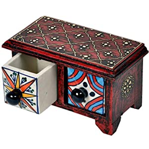 Wooden Ceramic Double Drawer Handicraft Set by Little India