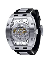 Ciemme Luxury Skeleton Automatic Movement See Through Dial Black Strap Mens Watch!