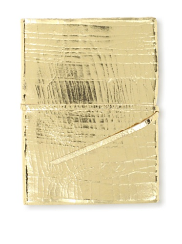 Sweet Bella Metallic Leather Journal with Tie, Crackle Gold