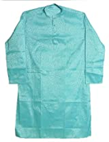 Dollsofindia Self Design Cyan Kurta (Xxxx-Large_Blue_)
