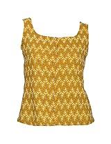 Mock Orange Women's Cotton Yellow Top, XX-Large