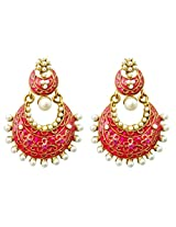 Dhwani Creation Drop Alloy Earrings For Girls and Women (Pink)