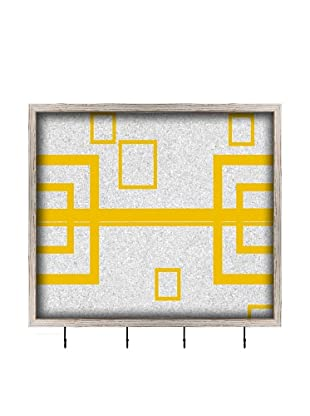 PTM Images Multiple Squares Key/Jewelry Organizer with Cork Backing, Yellow/White