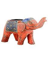 Rajasthan Emporium And Handicrafts Wooden Painted Elephant Shape T Light Holder (Orange)