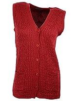 Casanova Women's Sleeveless Cardigans (2143, Maroon, L)