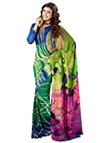 Vibes Women's Weighless butic Saree with Blouse (S22-1410B_Multi-Coloured)