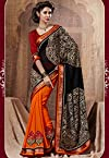 Orange Embellished Saree Bahubali