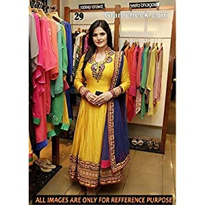 Lady Bazar katrina kaif yellow anarkali suit