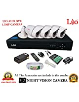 AHD LIO 4CH DVR + AHD 1.3 Megapixel High Resolution LIO 36IR BULLET CAMERA 4pcs + 1 TB WD HDD + CABLE 3+1 COPPER + POWER SUPPLY (FULL COMBO)