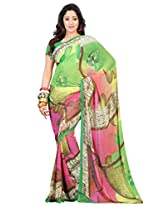 Admyrin Green and Pink Printed Saree with Green Blouse Piece