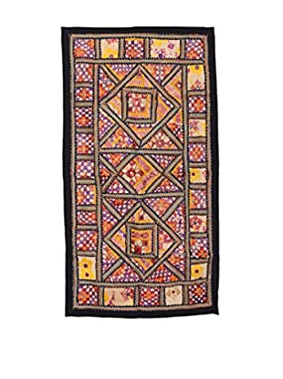 Uptown Down One-of-a-Kind Patchwork Wall Hanging/Textile Panel, Purple/Yellow