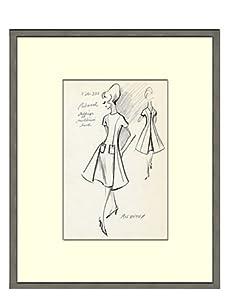 Vintage Women's Molyneux Fashion Sketch, c.1968