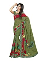 Raj Laxmi Women's Georgette Saree (Green)