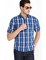Checked Navy Blue Casual Shirt