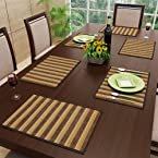 Stripes Bamboo Table Mat Brown & Beige Set of Six Pieces from FreeLance