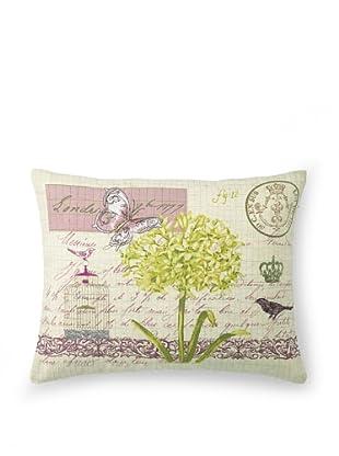 "Kathryn White Lettre Londres Pillow, Yellow/Violet, 14"" x 18"""