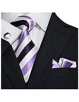 """Landisun Stripes Mens Silk Tie Set: Necktie+Hanky+Cufflinks 25V Purple White, 3.25""""Wx59""""L"""