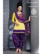 Yellow And Purple Net Brasso Patiyala Unstitched Dress Material