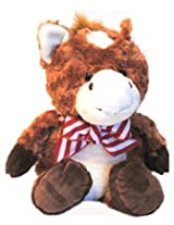 "Brown Horse With Holiday Bow, Plush Stuffed Animal, Soft And Cuddly, 15"" By Fiesta Toys"