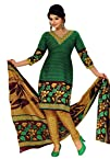 Salwar Studio Green & Mustard Cotton unstitched churidar kameez with dupatta RTC-5124