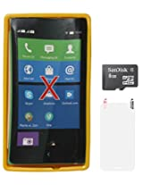 DMG Flexible Soft Glossy TPU Back Cover Case for Nokia X (Yellow) + 8GB microSD + Matte Screen