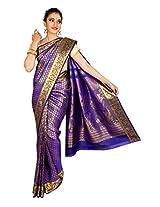 Thara Sarees Self Design Kanjivaram Sari (Dark Blue-Gold)