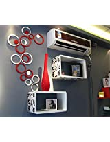 WOW Acrylic 3D Circle Red & White Home and Office Decor Wall Sticker