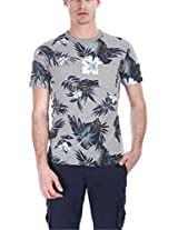 Zobello Men's Holiday Inspired Printed Crew Tee (21062C_Aloha Heather Navy Print_XX-Large)