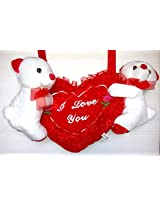 Shopperz Cute Valentine Musical Heart And Teddy Hanging - Red With Free Small Teddy
