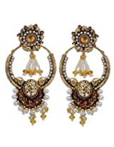 Hyderabadi Abhushan earrings with brown and gold color pearl