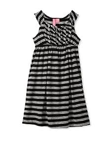 Hype Girls Funky Stripe Dress (Black/Heather Grey)