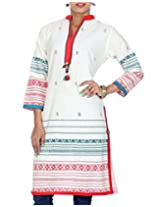 Rajrang Women's Printed Long Kurti (TOP05020_Off-White_Medium)