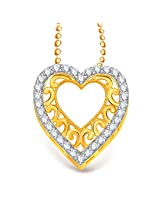 VK Jewels Superb Heart Valentine Gold and Rhodium Plated Pendant - P1931G [VKP1931G]