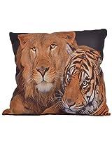 Twisha Lion &Tiger Printed Pillow 12 X 12 X 4 Inch
