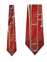 Trombone and Notes tie Mens Necktie by Ralph Marlin