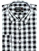 Cairon Black Dobby Check Premium Formal Shirt Sf-V1558_B