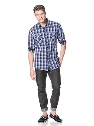 Dorsia Men's Adrian Long Sleeve Button-Up Shirt (Blue Plaid)