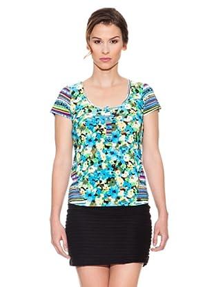 Mahal Camiseta Flores (Azul)