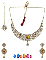 Bling N Beads Bridal Necklace, Earring & Maang Tikka Set with interchangeable stones for Women