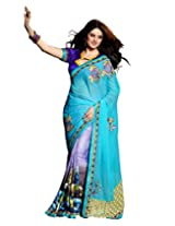 Texclusive Women's Fancy Fabric Saree with Blouse Piece (Multi-Coloured)