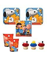 Peanuts Charlie Brown Snoopy Party Pack For 16 Guests, Cake Plates, Napkins, Cups Plus Cupcake Rings