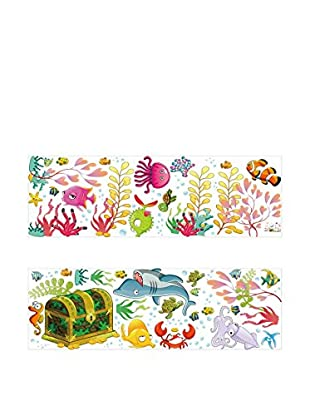 Ambiance Sticker Wandtattoo Smiling Shark And Fishes