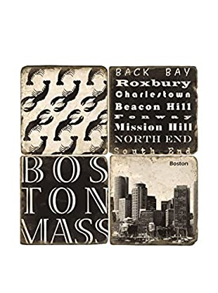 Studio Vertu Set of 4 Black & White Boston Tumbled Marble Coasters with Stand