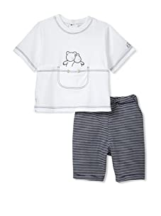 Emile et Rose Baby Boy's Two-Piece Set with Bear Embroidery (Navy)