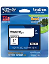 Brother Laminated Tape 1-inch, Black on White (TZe251)